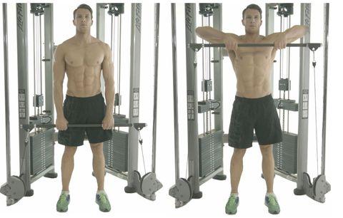 Shoulder, Standing, Exercise equipment, Arm, Leg, Human leg, Joint, Calf, Chest, Room,