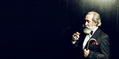 Audio equipment, Formal wear, Beard, Facial hair, Blazer, Moustache, Tuxedo, Suit trousers, Cuff, Singer,