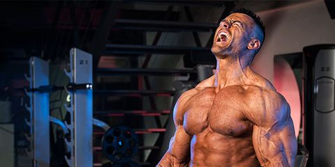 Bodybuilder, Chin, Shoulder, Chest, Physical fitness, Wrist, Standing, Joint, Trunk, Muscle,