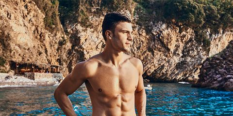 Barechested, Muscle, Human, Rock, Chest, Human body, Vacation, Trunk, Photography, Model,