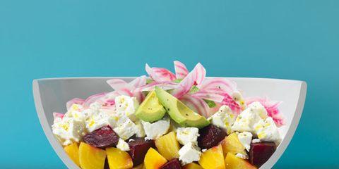 Food, Fruit salad, Pink, Cuisine, Produce, Sweetness, Ingredient, Turquoise, Dish, Snack,