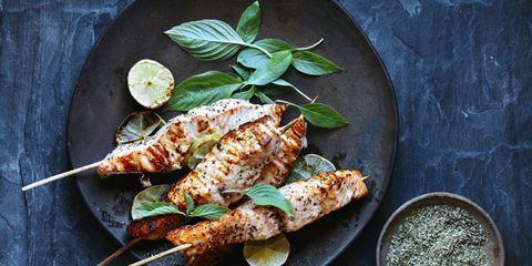 Food, Cuisine, Finger food, Leaf, Dish, Plate, Dishware, Recipe, Skewer, Ingredient,
