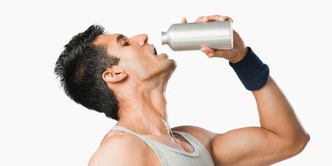 Shoulder, Elbow, Joint, Undershirt, Drink, Sleeveless shirt, Drinking, Muscle, Wrist, Plastic bottle,