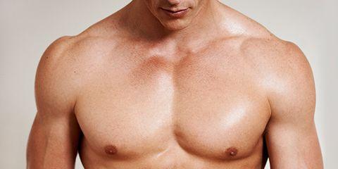 Skin, Human body, Chin, Chest, Shoulder, Bodybuilder, Barechested, Standing, Joint, Trunk,