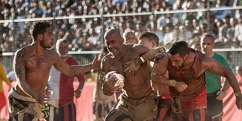 People, Muscle, Contact sport, Barechested, Trunks, Mud, Folk wrestling,