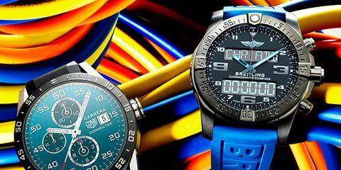 Blue, Product, Watch, Analog watch, Orange, Red, Watch accessory, Technology, Glass, Colorfulness,