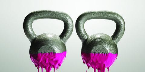Kettlebell, Weights, Pink, Exercise equipment, Sports equipment, Flamingo, Magenta,