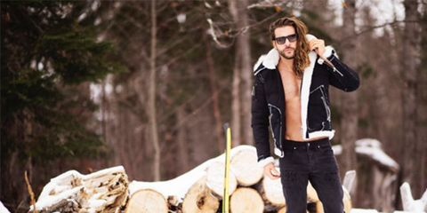 Wood, Human, Logging, Trousers, Winter, Jacket, Outerwear, Jeans, Coat, Street fashion,