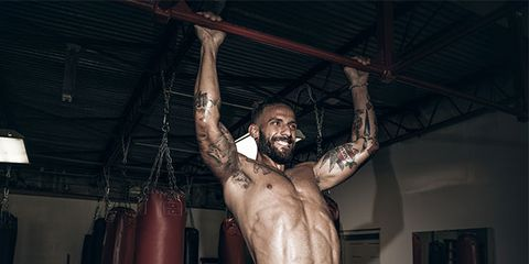 Barechested, Muscle, Physical fitness, Shoulder, Standing, Arm, Chest, Bodybuilding, Human body, Flesh,