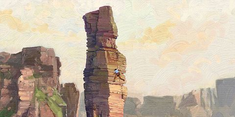 Cliff, Rock, Natural landscape, Formation, Watercolor paint, Sky, Painting, Klippe, Terrain, Stack,
