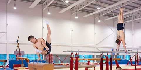 Human leg, Physical fitness, Gymnastics, Knee, Artistic gymnastics, Wrist, Performance, Trunk, Competition, Barefoot,