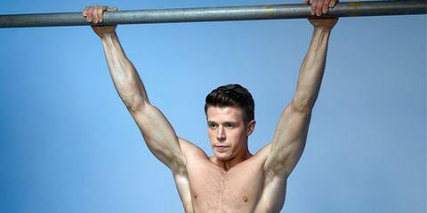Shoulder, Bodybuilder, Muscle, Barechested, Arm, Physical fitness, Chest, Calisthenics, Pull-up, Horizontal bar,