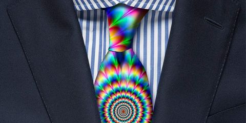 Tie, Suit, Orange, Fashion accessory, Formal wear, Electric blue, Button,