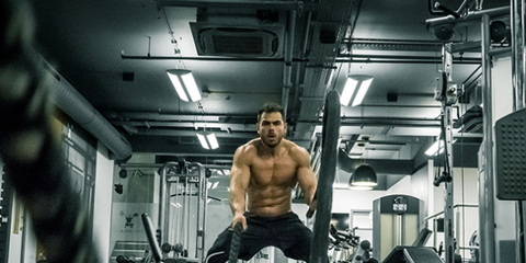 Gym, Physical fitness, Bodybuilding, Strength training, Shoulder, Weight training, Muscle, Room, Standing, Arm,