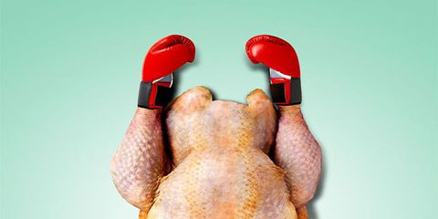 Hand, Weights, Kettlebell, Leg, Finger, Chicken, Duck, Water bird, Duck meat, Sports equipment,