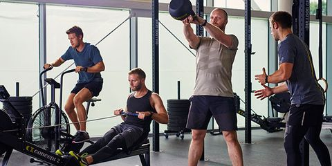 Gym, Physical fitness, Strength training, Exercise equipment, Shoulder, Fitness professional, Chin, Arm, Room, Weight training,
