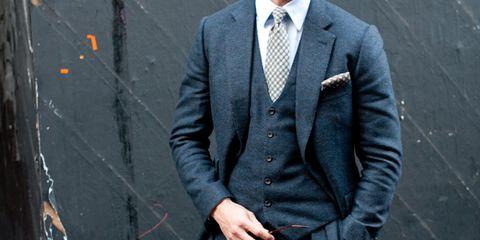 Suit, Clothing, Blazer, Outerwear, Formal wear, Jeans, Standing, Jacket, Tuxedo, Cool,
