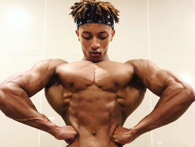 Teen bodybuilder's shoulders are twice the size of his waist