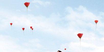 Sky, Cloud, Red, Dress, Beauty, Carmine, Parachute, Coquelicot, Parachuting, Air sports,