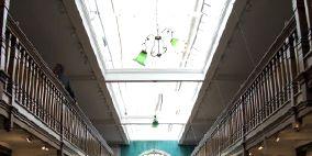 Architecture, Shelf, Interior design, Shelving, Ceiling, Publication, Library, Hall, Light fixture, Aisle,