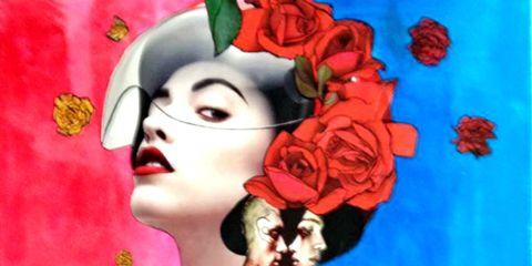 Red, Art, Painting, Illustration, Visual arts, Paint, Tattoo, Modern art, Animation, Creative arts,