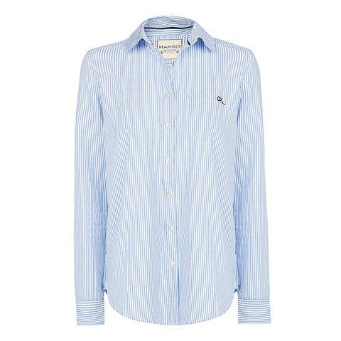 Clothing, Blue, Product, Dress shirt, Collar, Sleeve, Shirt, Textile, White, Pattern,