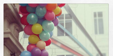 Balloon, Party supply, Pink, Colorfulness, Rectangle, Material property,