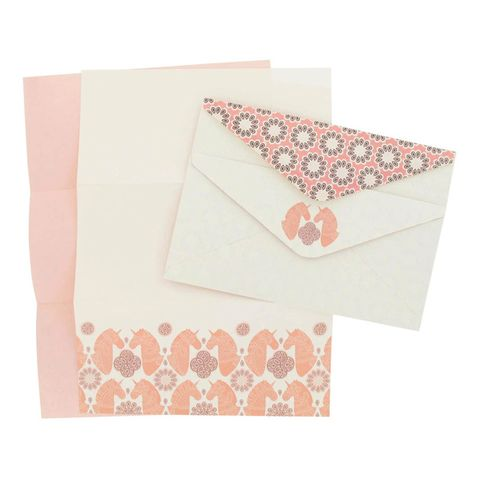 Peach, Paper product, Paper, Envelope, Art paper, Creative arts, Greeting card, Stationery, Triangle, Craft,