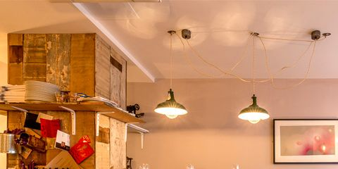 Room, Interior design, Light fixture, Furniture, Ceiling, Table, Interior design, Ceiling fixture, Beige, Stool,