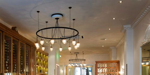 Lighting, Interior design, Light fixture, Room, Ceiling, Ceiling fixture, Glass, Furniture, Table, Interior design,