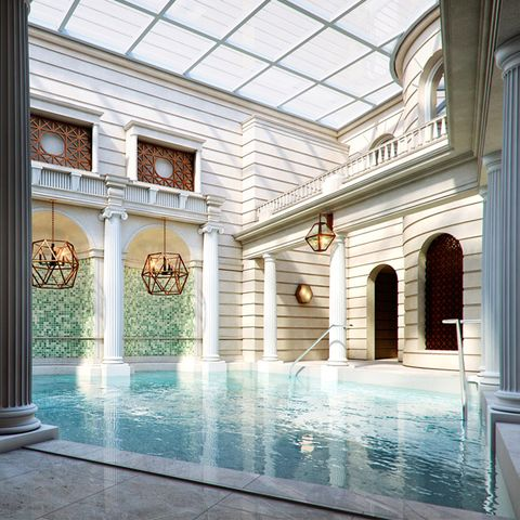 Ceiling, Interior design, Floor, Swimming pool, Tile, Glass, Fixture, Daylighting, Column, Hall,