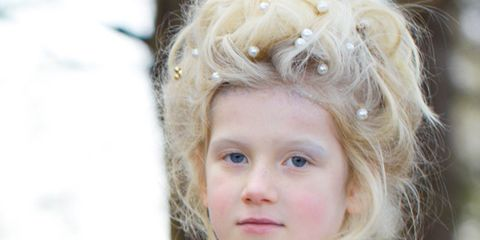 Mouth, Hairstyle, Iris, Blond, Portrait photography, Fur, Child model, Portrait, Costume, Embellishment,