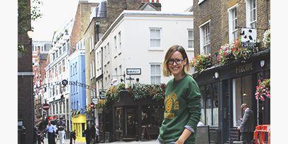 Outerwear, Neighbourhood, Town, Style, Street, Street fashion, Residential area, Travel, Bag, Maroon,