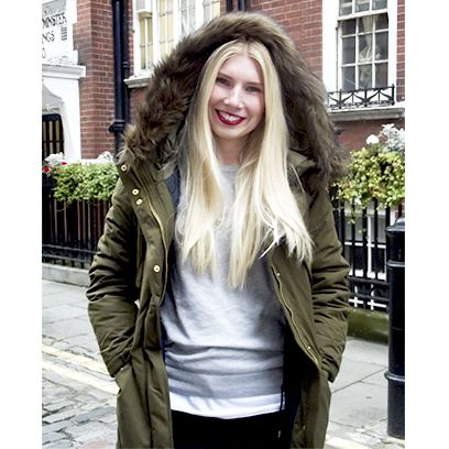 Sleeve, Outerwear, Jacket, Style, Street fashion, Bag, Long hair, Blond, Feathered hair, Pocket,