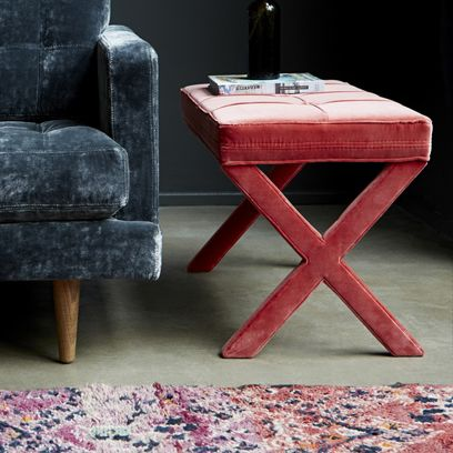 Red, Floor, Carpet, Still life photography, Club chair, Stool, Household supply, Rug,