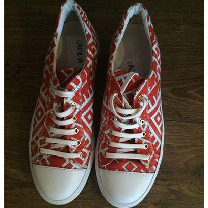 Footwear, Product, Shoe, Red, White, Light, Font, Carmine, Tan, Fashion,