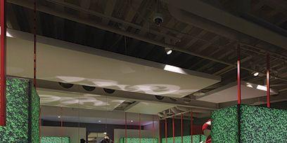 Lighting, Floor, Interior design, Ceiling, Flooring, Hall, Light fixture, Interior design, Decoration,