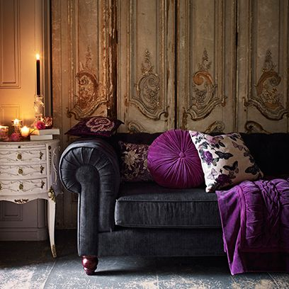 Room, Interior design, Living room, Purple, Home, Furniture, Wall, Couch, Chest of drawers, Interior design,