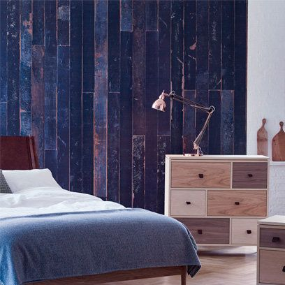 Wood, Room, Bed, Interior design, Furniture, Drawer, Textile, Chest of drawers, Bedding, Wall,