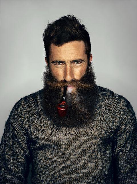 Facial hair, Sleeve, Textile, Collar, Moustache, Jaw, Black hair, Beard, Sweater, Wool,