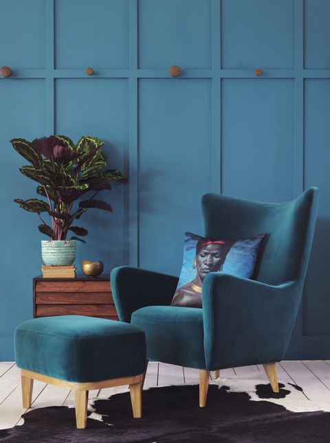 Blue, Furniture, Room, Flowerpot, Chair, Fixture, Houseplant, Still life photography, Club chair, Vase,