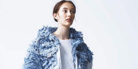 Blue, Sleeve, Shoulder, Textile, Outerwear, Fur clothing, Collar, Style, Fashion model, Fashion,