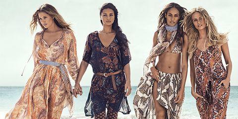 Waist, Fashion, People on beach, One-piece garment, Fashion model, Abdomen, Fashion design, Day dress, Model, Pattern,