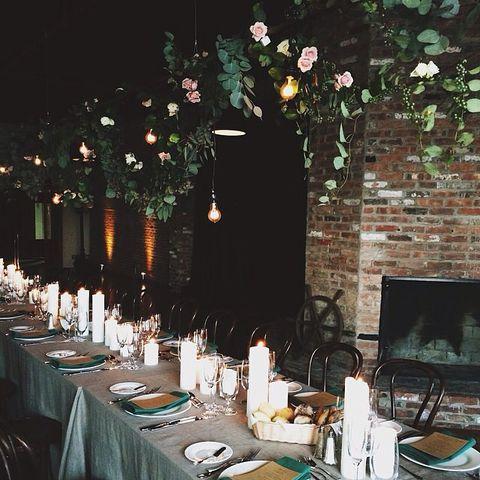 Branch, Table, Centrepiece, Tree, Restaurant, Room, Rehearsal dinner, Design, Tableware, Plant,