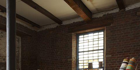 Ceiling, Hardwood, Beam, Brick, Houseplant, Brickwork, Daylighting, Flowerpot, Spoke, Sash window,