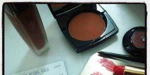 Brown, Pink, Lipstick, Brush, Carmine, Tints and shades, Cosmetics, Stationery, Magenta, Eye shadow,