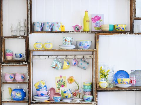 Shelving, Collection, Shelf, Porcelain, Paint, Cabinetry, Still life, Creative arts, Cupboard,