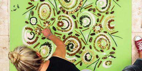 Yellow, Green, Pattern, Visual arts, Motif, Design, Circle, Back, Fractal art,