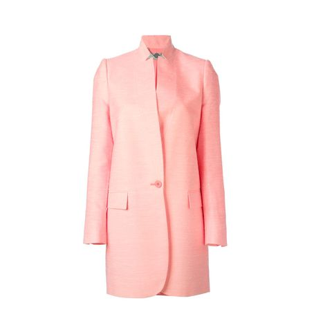 Clothing, Product, Collar, Sleeve, Coat, Textile, Outerwear, Pink, Orange, Pattern,