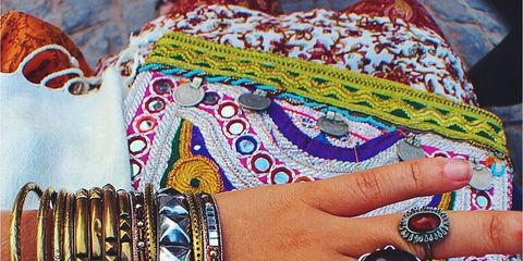 Wrist, Fashion accessory, Nail, Jewellery, Pattern, Bangle, Body jewelry, Bracelet, Beige, Teal,